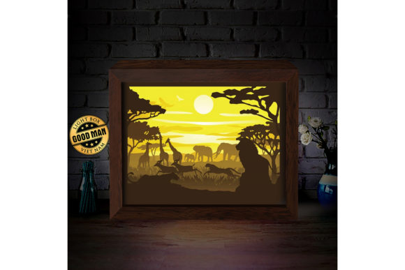 Africa 3D Paper Cutting Light Box Graphic 3D Shadow Box By LightBoxGoodMan