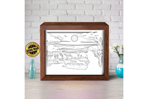 Africa 3D Paper Cutting Light Box Graphic Item