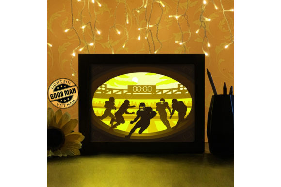 Print on Demand: American Football Paper Cutting LightBox Graphic 3D Shadow Box By LightBoxGoodMan