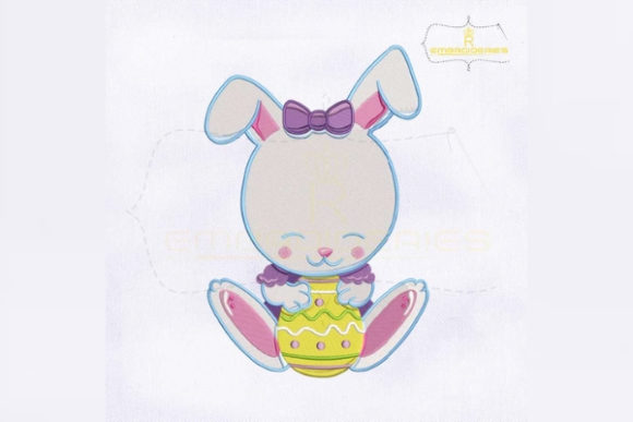 Baby Bunny Holding Egg Easter Embroidery Design By RoyalEmbroideries