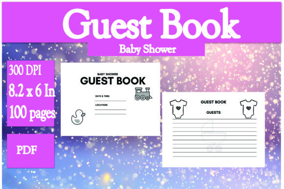 Print on Demand: Baby Shower Guest Book Graphic KDP Interiors By Ivana Prue