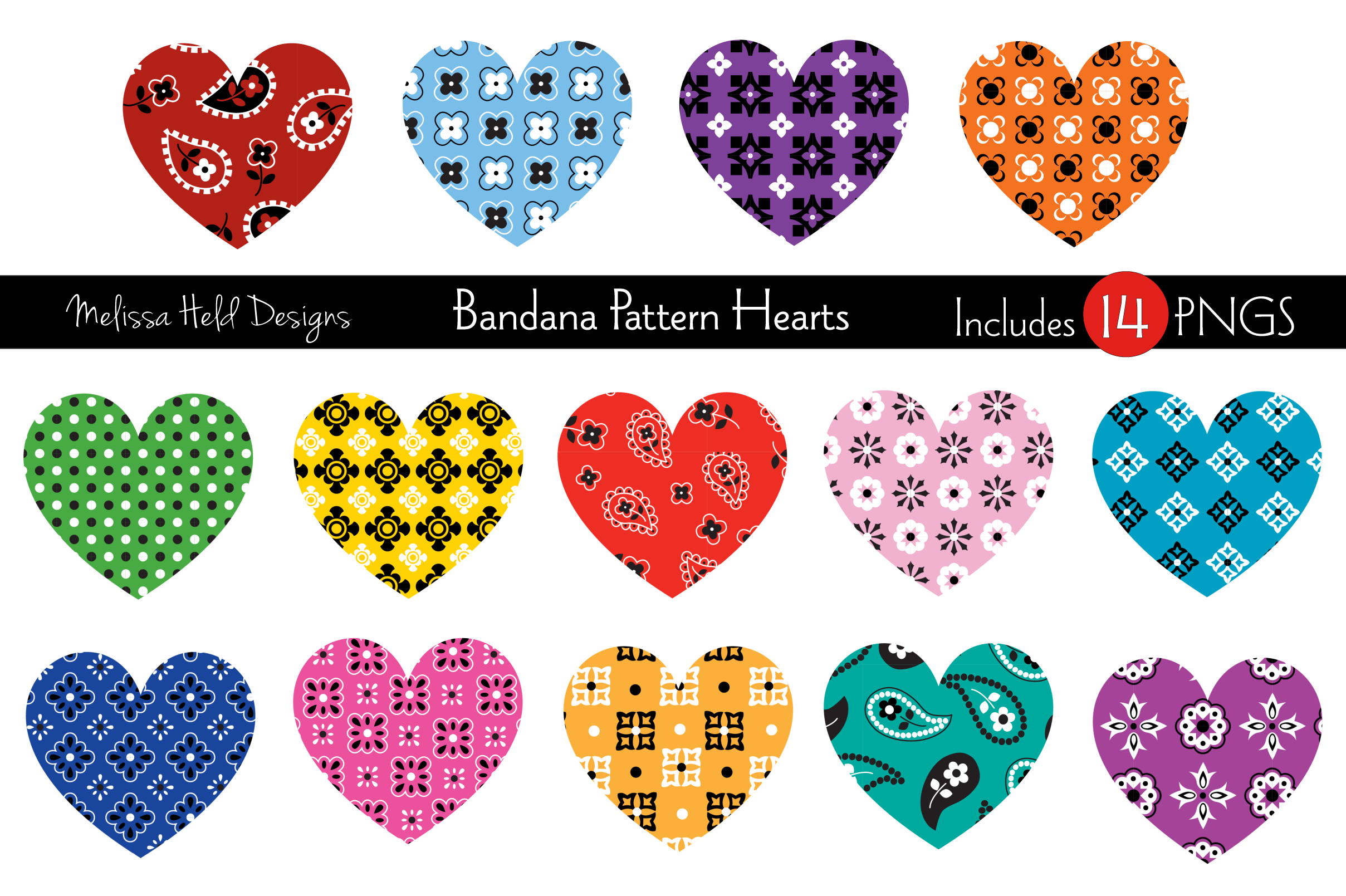 Download Free Bandana Pattern Hearts Vector Graphics Grafik Von Melissa Held for Cricut Explore, Silhouette and other cutting machines.