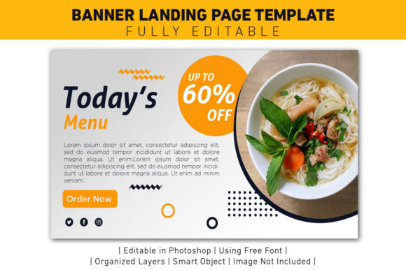 Download Free Banner Todays Menu Yellow Template Graphic By Ant Project for Cricut Explore, Silhouette and other cutting machines.