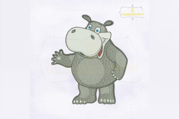 Beautiful Grey Hippo Baby Animals Embroidery Design By RoyalEmbroideries - Image 1