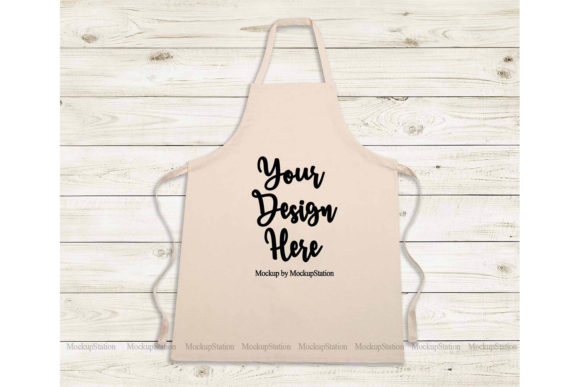 Print on Demand: Beige Apron Mockup, Blank Apron Template Graphic Product Mockups By Mockup Station