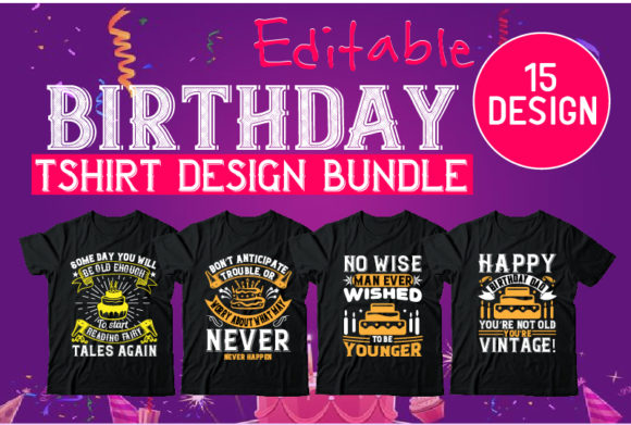 Print on Demand: Birthday Tshirt Design Bundle Graphic Illustrations By Design_store