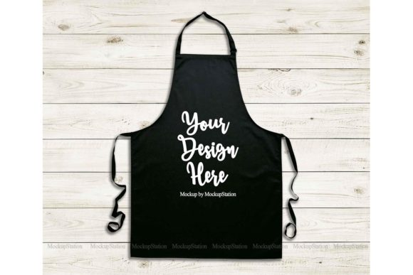 Print on Demand: Black Apron Mockup, Blank Apron Template Graphic Product Mockups By Mockup Station