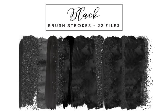 Black Glitter Brush Strokes Graphic Illustrations By clipheartcreations