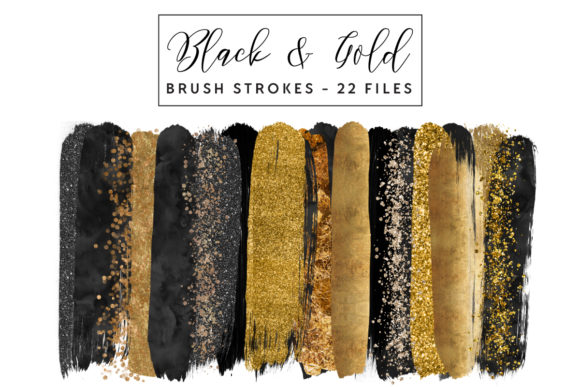 Download Free Black Gold Brush Strokes Graphic By Clipheartcreations Creative Fabrica for Cricut Explore, Silhouette and other cutting machines.