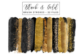 Black & Gold Brush Strokes Graphic Illustrations By clipheartcreations