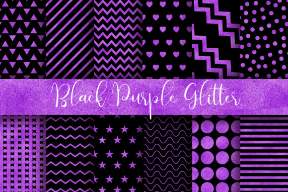 Black Purple Glitter Digital Papers Graphic Backgrounds By PinkPearly