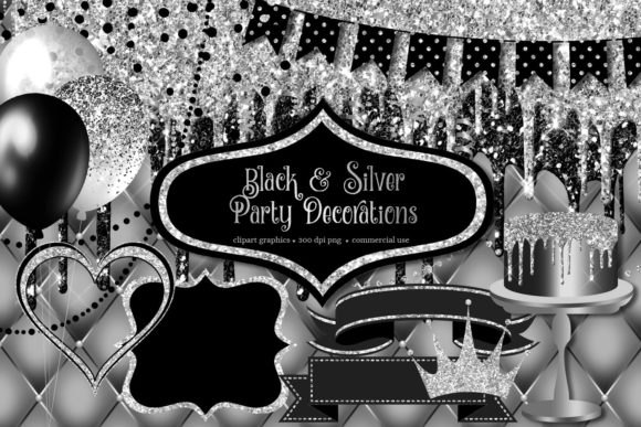 Print on Demand: Black and Silver Party Decorations Clipart Graphic Illustrations By Digital Curio