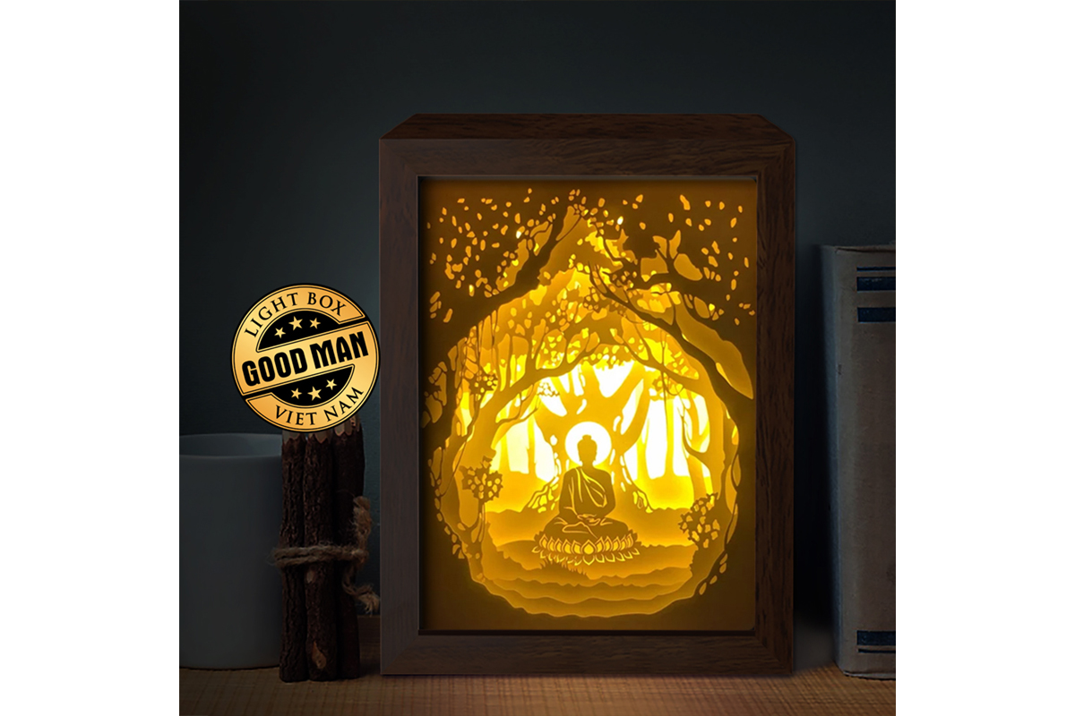 Download Free Budha 1 3d Paper Cutting Light Box Graphic By Lightboxgoodman Creative Fabrica for Cricut Explore, Silhouette and other cutting machines.