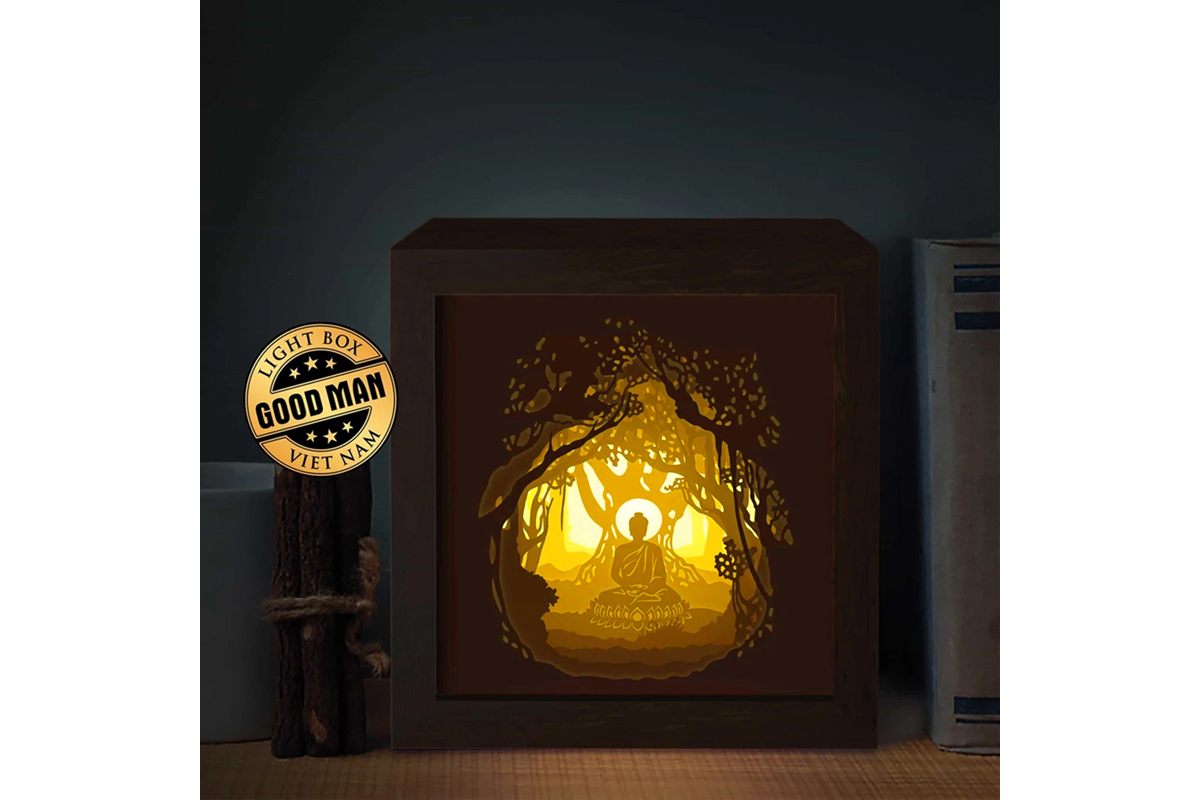 Budha Square 3d Paper Cutting Light Box Graphic By Lightboxgoodman Creative Fabrica