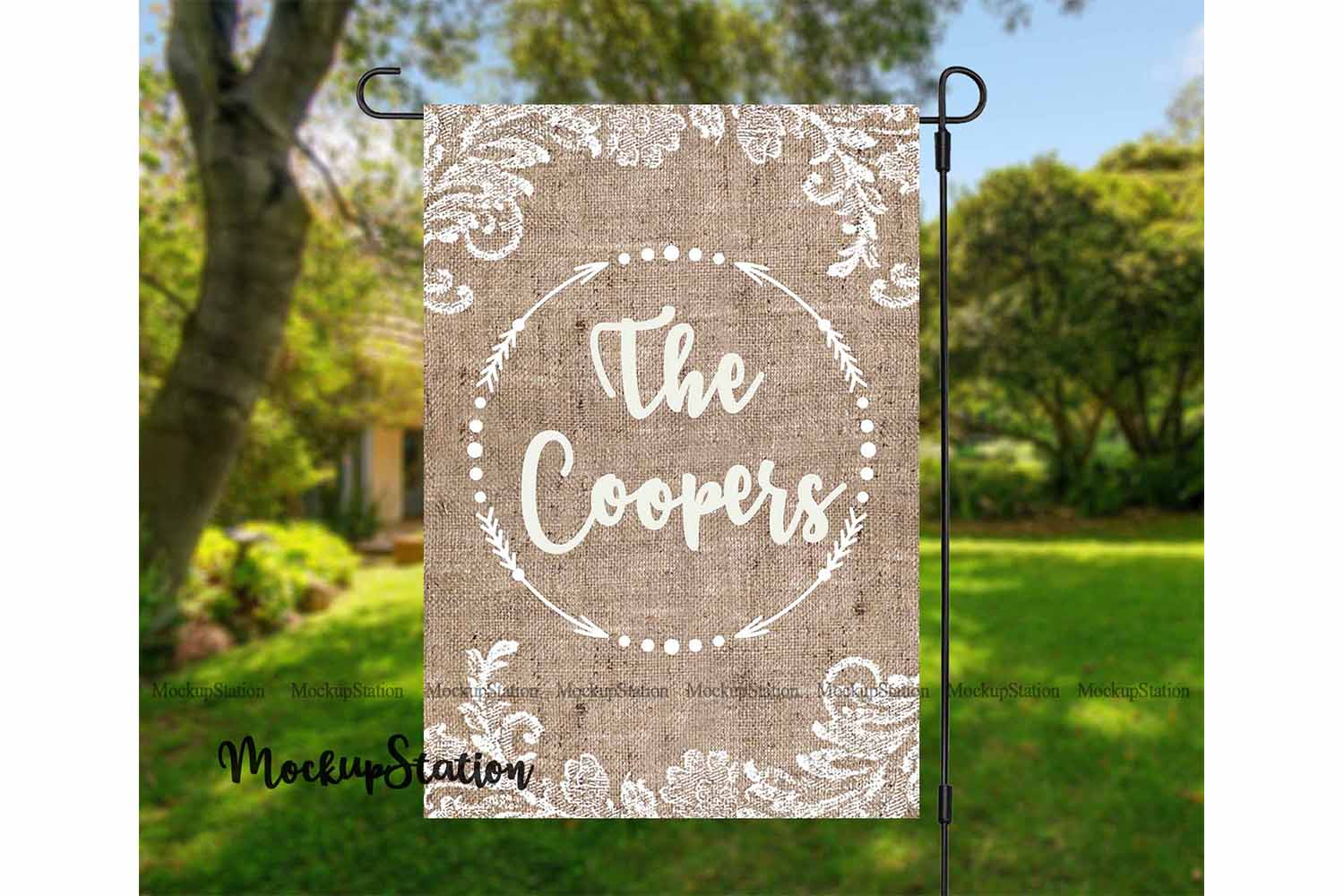 Download Free Burlap Garden Flag Sublimation Design Graphic By Mockup Station for Cricut Explore, Silhouette and other cutting machines.