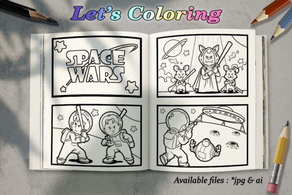 Download Free Coloring Books Wars In Space Graphic By Bunny Book Creative for Cricut Explore, Silhouette and other cutting machines.