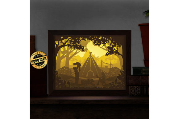 Camping 3D Paper Cutting Light Box Graphic 3D Shadow Box By LightBoxGoodMan - Image 1
