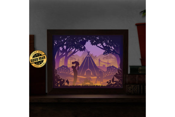 Camping 3D Paper Cutting Light Box Graphic 3D Shadow Box By LightBoxGoodMan - Image 2