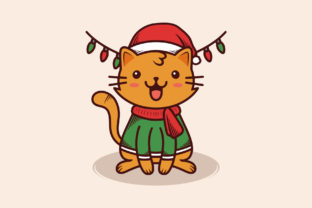 Download Free Christmas Cute Kawaii Cat Illustration Graphic By Vectorwithin for Cricut Explore, Silhouette and other cutting machines.