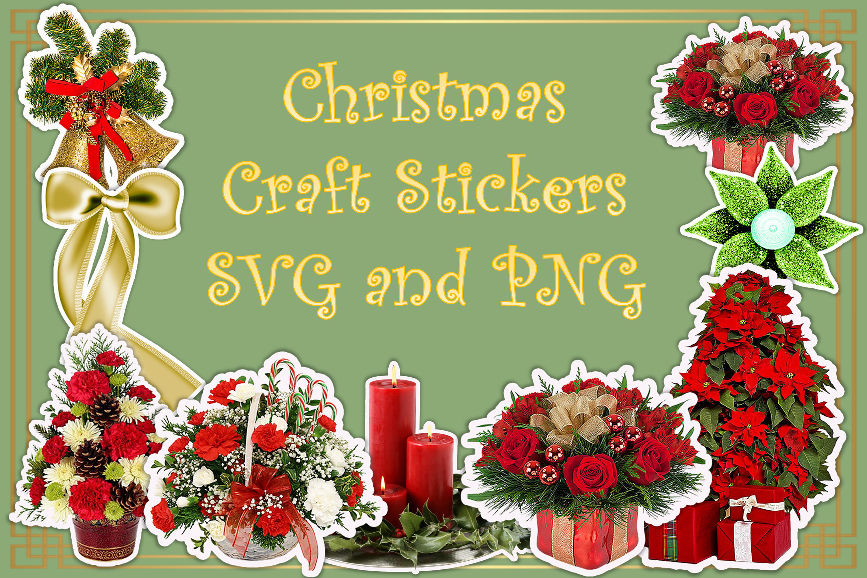 Download Free Christmas Stickers Clip Art Graphic By The Paper Princess Creative Fabrica for Cricut Explore, Silhouette and other cutting machines.