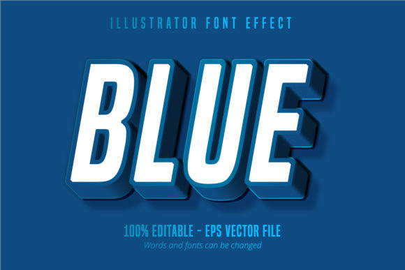 Print on Demand: Classic Blue 3D Editable Text Style Graphic Graphic Templates By Mustafa Bekşen