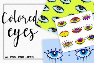 Colored Stylized Eyes Graphic Objects By Vikta55