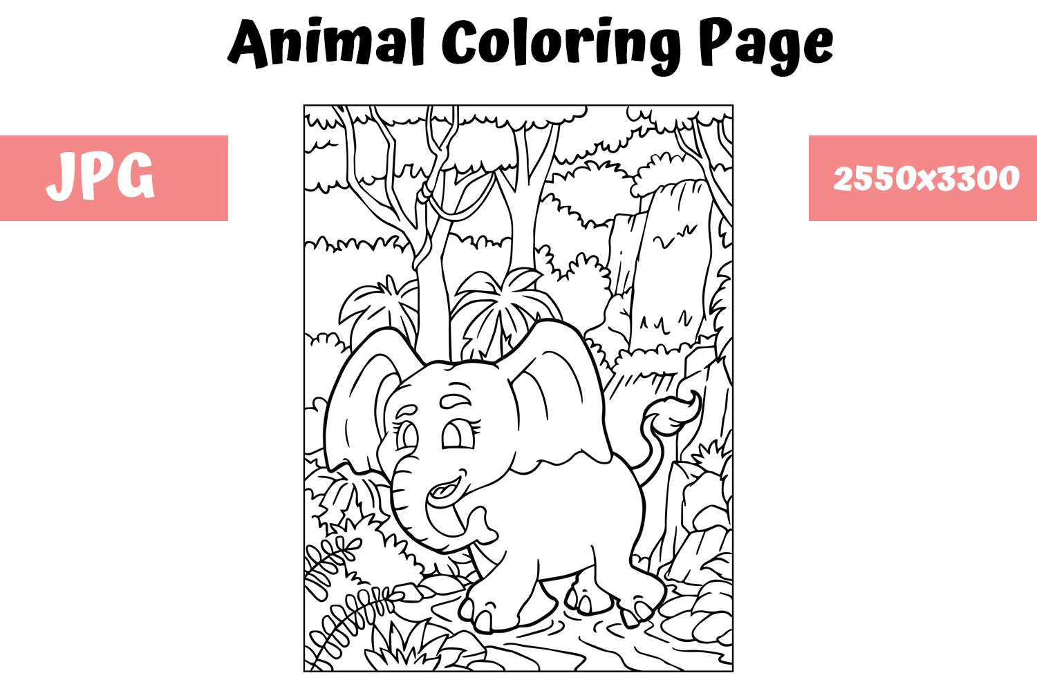 Coloring Book Page Animal for Kids - 1 (Graphic) by ...