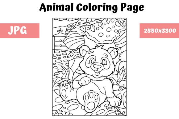 Print on Demand: Coloring Book Page Animal for Kids - 12 Graphic Coloring Pages & Books Kids By MyBeautifulFiles