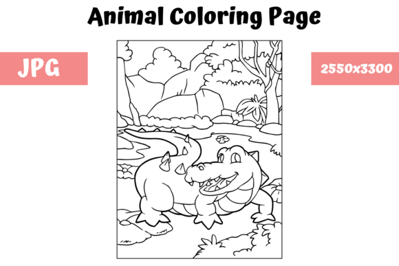 Print on Demand: Coloring Book Page Animal for Kids - 5 Graphic Coloring Pages & Books Kids By MyBeautifulFiles