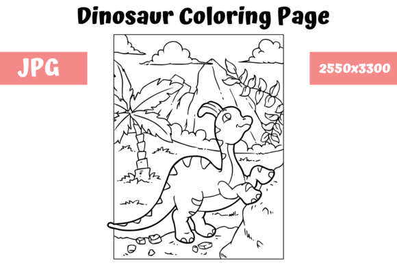 Print on Demand: Coloring Book Page Dinosaur - 10 Graphic Coloring Pages & Books Kids By MyBeautifulFiles