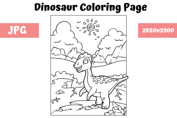 Print on Demand: Coloring Book Page Dinosaur - 11 Graphic Coloring Pages & Books Kids By MyBeautifulFiles