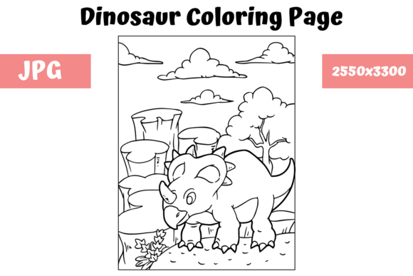 Print on Demand: Coloring Book Page Dinosaur - 13 Graphic Coloring Pages & Books Kids By MyBeautifulFiles