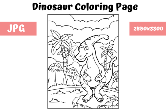 Print on Demand: Coloring Book Page Dinosaur - 14 Graphic Coloring Pages & Books Kids By MyBeautifulFiles