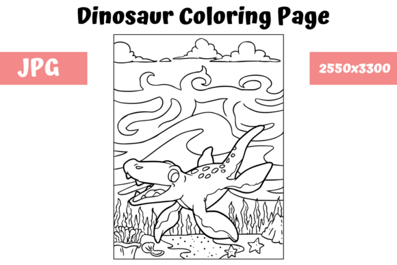 Print on Demand: Coloring Book Page Dinosaur - 15 Graphic Coloring Pages & Books Kids By MyBeautifulFiles