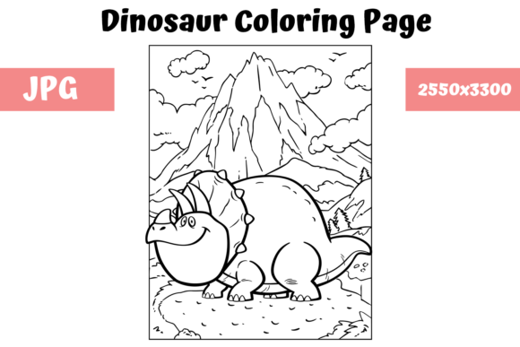 Print on Demand: Coloring Book Page Dinosaur for Kids - 2 Graphic Coloring Pages & Books Kids By MyBeautifulFiles