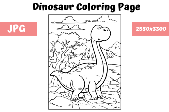 Print on Demand: Coloring Book Page Dinosaur for Kids - 3 Graphic Coloring Pages & Books Kids By MyBeautifulFiles