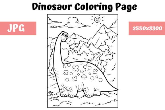 Print on Demand: Coloring Book Page Dinosaur for Kids - 5 Graphic Coloring Pages & Books Kids By MyBeautifulFiles