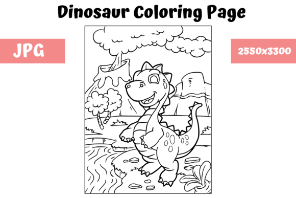 Print on Demand: Coloring Book Page Dinosaur for Kids - 6 Graphic Coloring Pages & Books Kids By MyBeautifulFiles