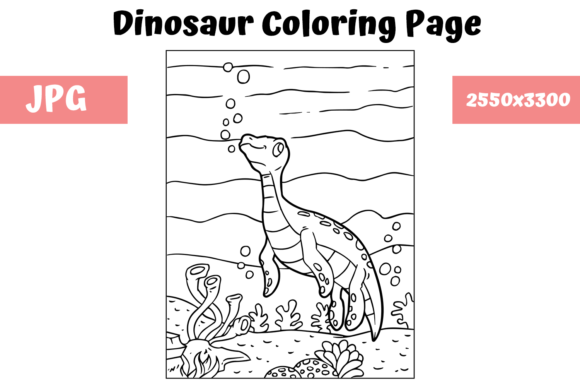 Print on Demand: Coloring Book Page Dinosaur for Kids - 8 Graphic Coloring Pages & Books Kids By MyBeautifulFiles