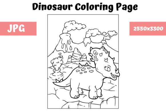 Print on Demand: Coloring Book Page Dinosaur for Kids - 9 Graphic Coloring Pages & Books Kids By MyBeautifulFiles
