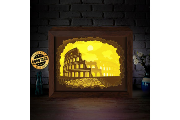 Print on Demand: Colosseum 1 3D Paper Cutting Light Box Graphic 3D Shadow Box By LightBoxGoodMan