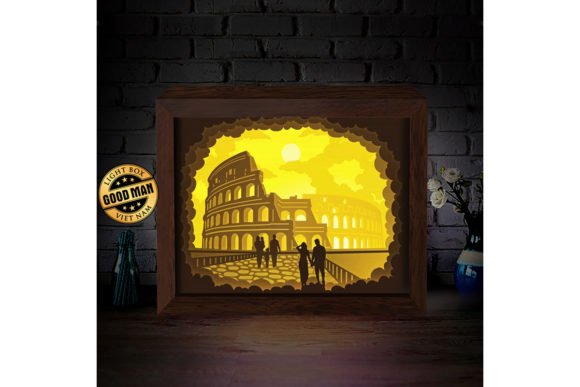 Print on Demand: Colosseum 2 3D Paper Cutting Light Box Graphic 3D Shadow Box By LightBoxGoodMan