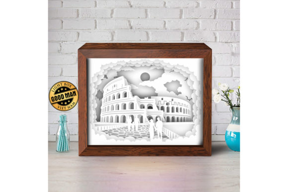 Download Free Colosseum 2 3d Paper Cutting Light Box Graphic By for Cricut Explore, Silhouette and other cutting machines.