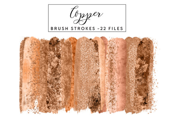 Copper Brush Strokes Graphic Illustrations By clipheartcreations