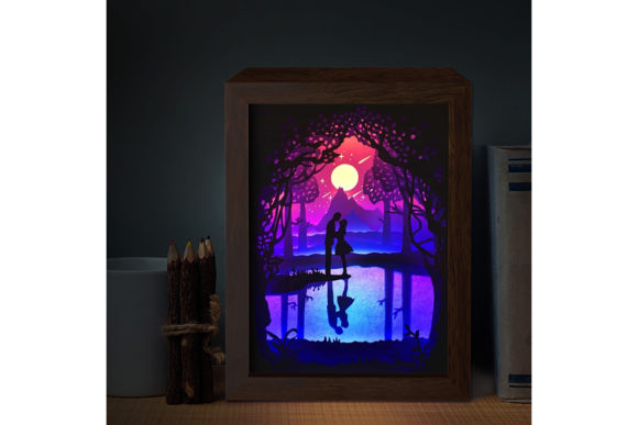 Couple 8 3D Paper Cutting Light Box Graphic