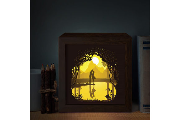 Couple Square 3D Paper Cutting Light Box Graphic 3D Shadow Box By LightBoxGoodMan