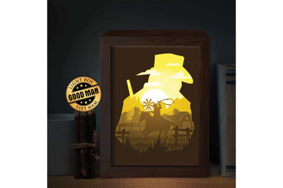 Print on Demand: Cowboy 1 3D Paper Cutting Light Box Graphic 3D Shadow Box By LightBoxGoodMan
