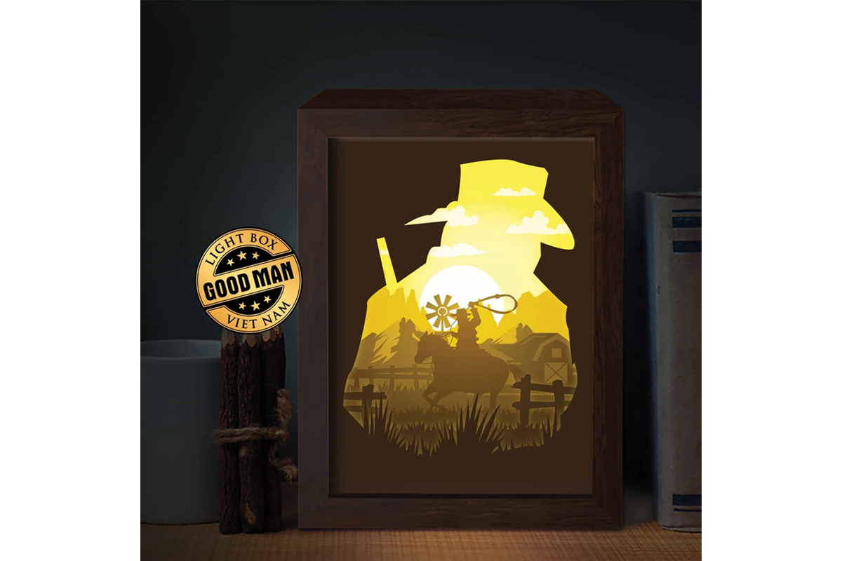 Download Free Cowboy 1 3d Paper Cutting Light Box Graphic By Lightboxgoodman for Cricut Explore, Silhouette and other cutting machines.