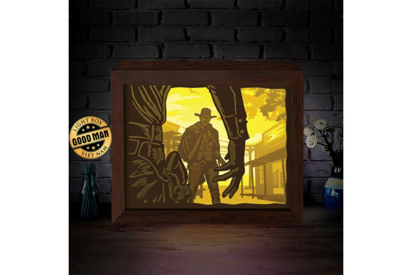 Print on Demand: Cowboy Battle 3D Paper Cutting Light Box Graphic 3D Shadow Box By LightBoxGoodMan