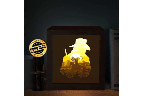 Cowboy Square 3D Paper Cutting Light Box Graphic 3D Shadow Box By LightBoxGoodMan